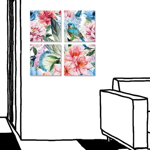 【24mama 掛畫】四聯式 手繪風 牡丹 招財 吉祥 如意 開運 風水 無框畫-30x30cm(富貴長春)