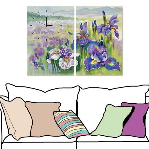 【24mama 掛畫】二聯式 花卉 鳶尾花 紫色 花卉 花朵 水彩風格 時鐘掛畫 無框畫 40x60cm(餘香未盡)