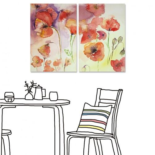 【24mama 掛畫】二聯式 花卉 紅色 花朵 水彩風格 暈染 渲染 油畫風格 無框畫 40x60cm(陌上繁花)