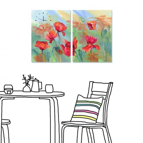【24mama 掛畫】二聯式 花卉 紅色 花朵 水彩風格 暈染 渲染 油畫風格 時鐘掛畫 無框畫 40x60cm(岸芷汀蘭)