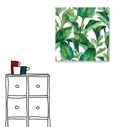 【24mama 掛畫】單聯式 北歐風 文青 ig風格 ins風 植物 葉子 手繪風 水彩風 樹葉 無框畫 30x30cm(青幽)