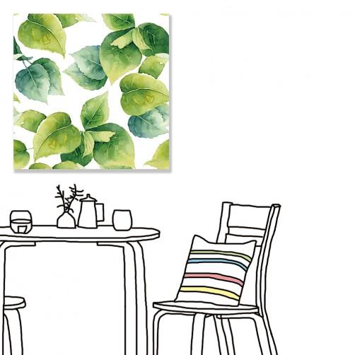 【24mama 掛畫】單聯式 北歐風 文青 ig風格 ins風 植物 葉子 手繪風 水彩風 樹葉 無框畫 30x30cm(朝露)