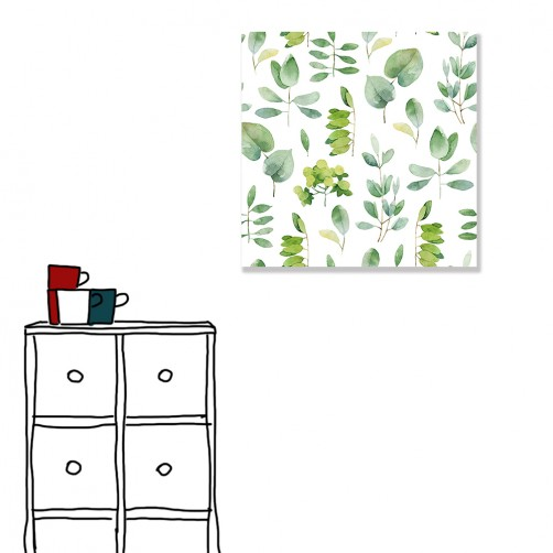 【24mama 掛畫】單聯式 北歐風 文青 ig風格 ins風 植物 葉子 手繪風 水彩風 樹葉 無框畫 30x30cm(碧森)