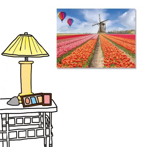 【24mama 掛畫】單聯式 橫幅 花卉 花朵 浪漫 歐風 田野 鄉村風 風車 荷蘭 熱氣球 無框畫 40x30cm(荷蘭印象)