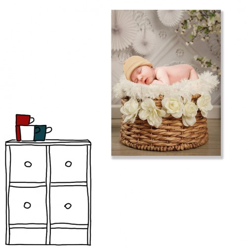 【24mama 掛畫】單聯式 新生兒 寶寶 客製化 禮物 無框畫 30x40cm( 小寶貝)