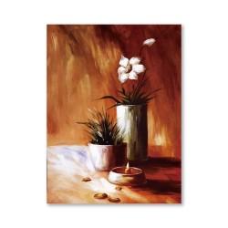 24mama掛畫  單聯式 粉色花卉 花瓶 油畫風無框畫 60X80cm-燈下之花2