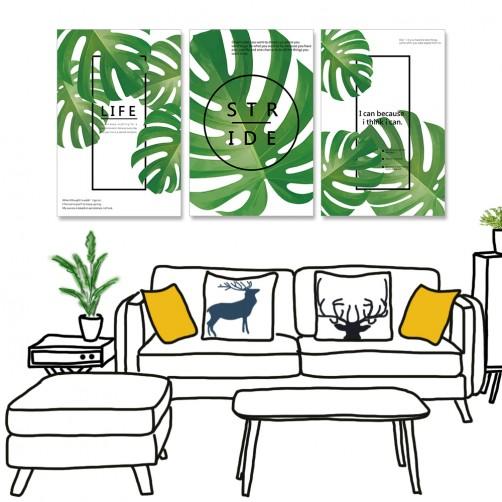 【24mama 掛畫】三聯式 北歐 簡約 植物 綠色 勵志 英文 龜背竹 龜背芋 無框畫-40x60cm(簡單生活)