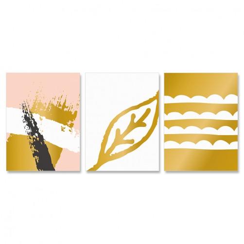 三聯式 簡約 時尚 北歐 清新 粉色 黑色 白色 金色 葉子-30x40cm(戀物主義h)