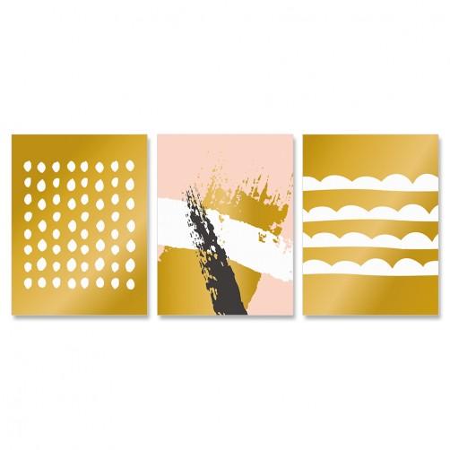 三聯式 簡約 時尚 北歐 清新 粉色 黑色 白色 金色-30x40cm(戀物主義i)