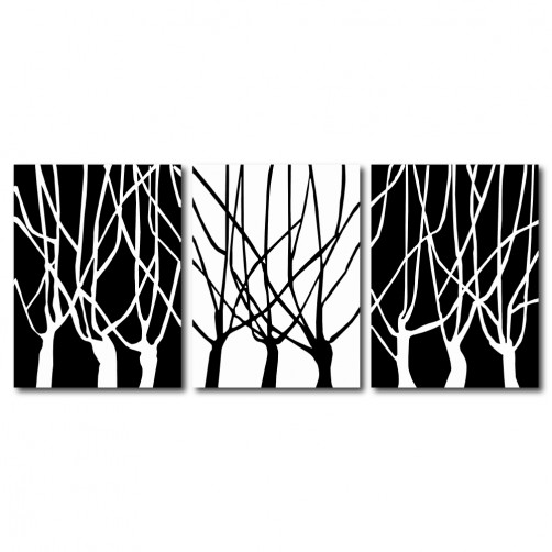 【123點點貼】三聯式 直幅 壁貼 牆貼 小資DIY 家居輕改造 黑白 樹木 簡約 印象派 咖啡廳 書房 家居裝飾-黑白分道30x40cm