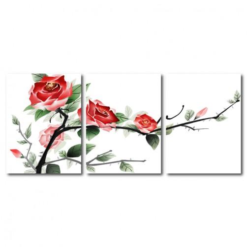 【123點點貼】三聯式 直幅 壁貼 牆貼 小資DIY 家居輕改造 玫瑰 紅色 花卉 壁鐘 輕改造 客廳裝飾 送禮-盛氣凌人30x40cm