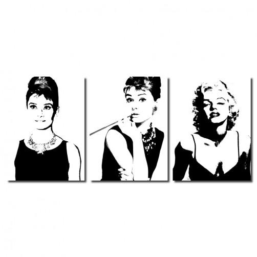 【123點點貼】三聯式 直幅 壁貼 牆貼 小資DIY 家居輕改造 瑪麗蓮夢露 歐美 女星 性感 黑白 咖啡廳 家飾品 -風華年代30x40cm