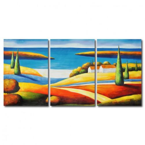 【123點點貼】三聯式 直幅 家居輕改造 壁貼 牆貼 小資DIY海邊 水彩 油畫 鮮豔 對比 民宿 餐廳 裝飾-寂靜30x40cm