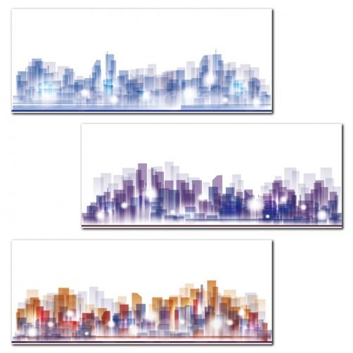 【123點點貼】三聯式 橫幅 壁貼 壁紙 水彩 朦朧 辦公室 家居裝飾 咖啡館 餐廳 民宿-城市幻象20x50cm