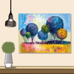 24mama掛畫 單聯式 手繪 印象派 五顏六色 美麗植物 森林 室外景觀 夏天 無框畫 40x30cm-色彩樹木