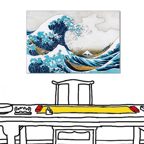 24mama 單聯式 大浪 浮式繪 船 無框畫 60x40cm-大浪浮世