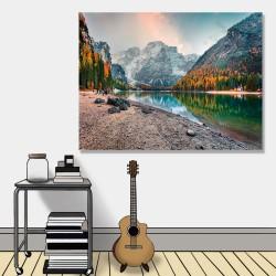 24mama掛畫 單聯式 時鐘掛畫 秋天 風景 山 河邊 義大利 阿爾卑斯 石頭 森林 自然 無框畫 40x30cm-白雲巖
