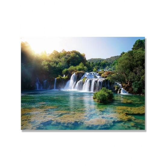 24mama掛畫 單聯式 全景 風景 河 國家公園 克羅地亞 山 森林 無框畫 40x30cm-克爾卡瀑布