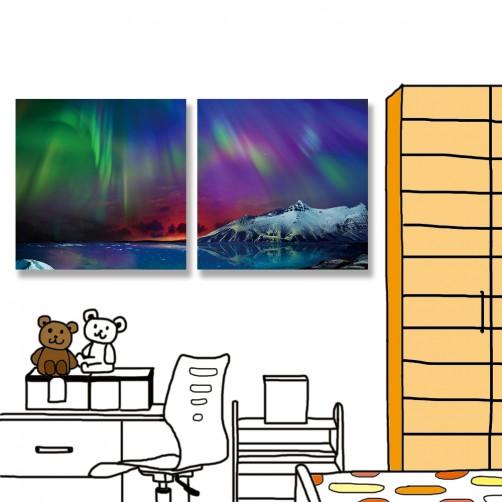 24mama掛畫 二聯式 美麗夜景 海洋 華麗 白雪山水 無框畫 時鐘掛畫 30x30cm-北極光