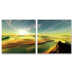 24mama掛畫 二聯式 烏云密布 燦爛的陽光 無框畫 時鐘掛畫 30x30cm-沙漠中的河