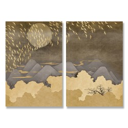 24mama掛畫 二聯式 月亮 山 霧 樹木 動物 鳥 無框畫 時鐘掛畫 40x60cm-滿月山丘