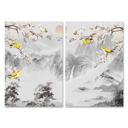 24mama掛畫 二聯式 樹木 霧 日出 動物 鳥兒 山脈 無框畫 時鐘掛畫 40x60cm-開滿白花
