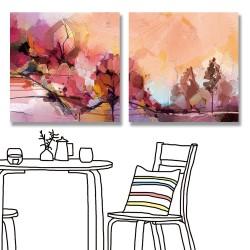 24mama掛畫 二聯式 時鐘掛畫 五顏六色 藍紫色天空 景觀 山 湖 藝術現代 無框畫 30x30cm-抽象風景