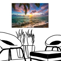 24mama 單聯式 海邊 夏威夷 椰子樹 無框畫 60x40cm-海邊渡假