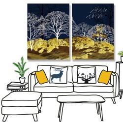 24mama掛畫 二聯式 山 樹木 天空 動物 鹿 鳥 無框畫 30x40cm-輪廓山林