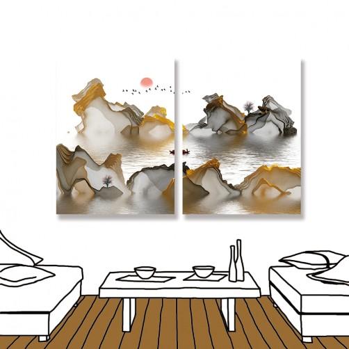 24mama 二聯式 山水 船 意境 抽象 無框畫 30x40cm-彩色意境03