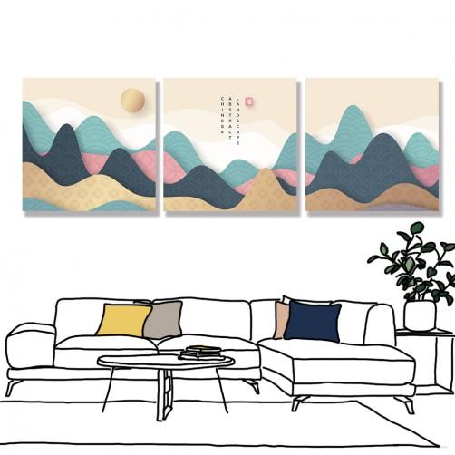 24mama 三聯式 山丘 太陽 風景 無框畫 30x30cm-彩色山丘