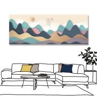 24mama 單聯式 山丘 太陽 風景 無框畫 80x30cm-彩色山丘
