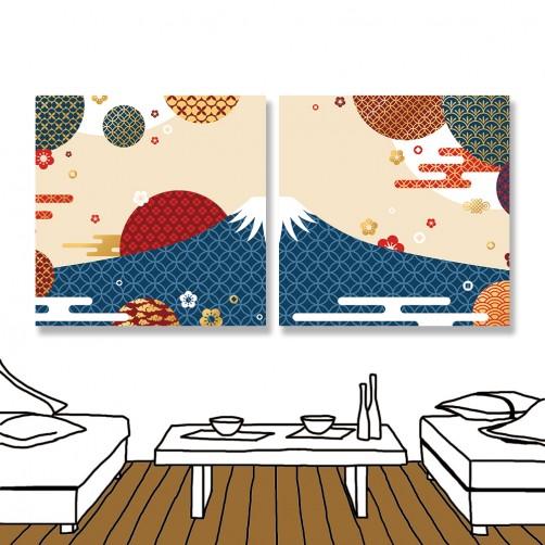 24mama掛畫 二聯式 日本 雲彩 現代風格 無框畫 時鐘掛畫 30x30cm-華麗富士山