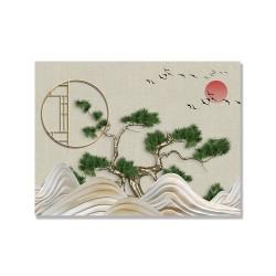 24mama掛畫 單聯式 日落 彎曲的松樹 樹 植物 鳥 動物 水 夕陽 無框畫 40x30cm-抽象波浪山