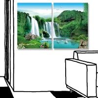 24mama掛畫 二聯式 風景 動物 天鵝 天空 花草 湖 樹 無框畫 30x40cm-森林瀑布01