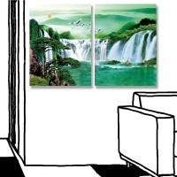 24mama掛畫 二聯式 風景 天空 動物 鳥 樹 無框畫 30x40cm-森林瀑布02