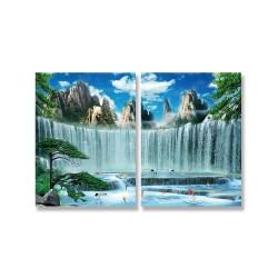 24mama掛畫 二聯式 岩石 樹木 動物 鳥 魚 無框畫 30x40cm-大瀑布