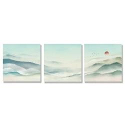 24mama掛畫 三聯式 時鐘掛畫 古典 傳統 風景 仙境 溫和 平緩 復古 太陽 鳥 動物 無框畫 30x30cm-水墨山水
