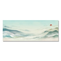 24mama掛畫 單聯式 時鐘掛畫 古典 傳統 風景 仙境 溫和 平緩 復古 太陽 鳥 動物 無框畫 80x30cm-水墨山水