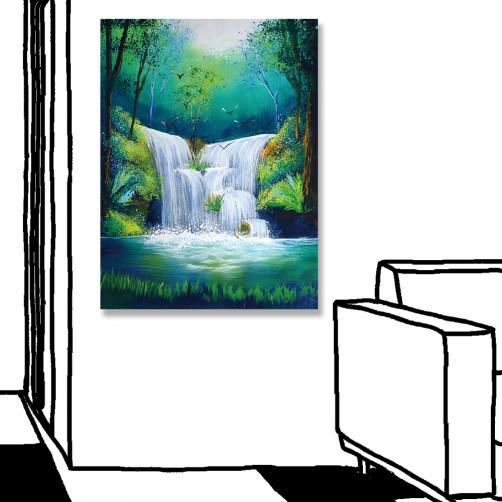 24mama掛畫 單聯式 瀑布 森林 無框畫 30x40cm-瀑布