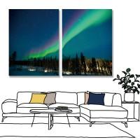 24mama掛畫 二聯式 加拿大 天空 夜晚 樹 冰島 山 冬天 無框畫 時鐘掛畫 30x40cm-北極夜光