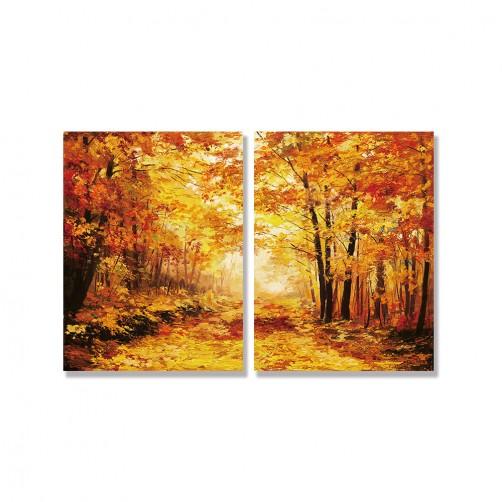 24mama掛畫 二聯式 藝術 樹葉 插圖 橙色 無框畫 30x40cm-秋天森林01