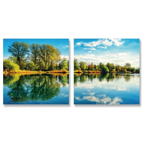 24mama掛畫 二聯式 天空 雲朵 春天 樹木 晴朗 無框畫 30x30cm-寧靜森林湖面