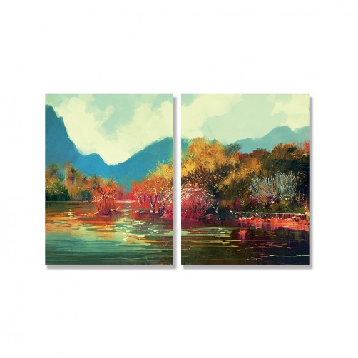 24mama掛畫 二聯式 藝術 風景 山 湖 沼澤 樹 無框畫 30x40cm-秋天森林02
