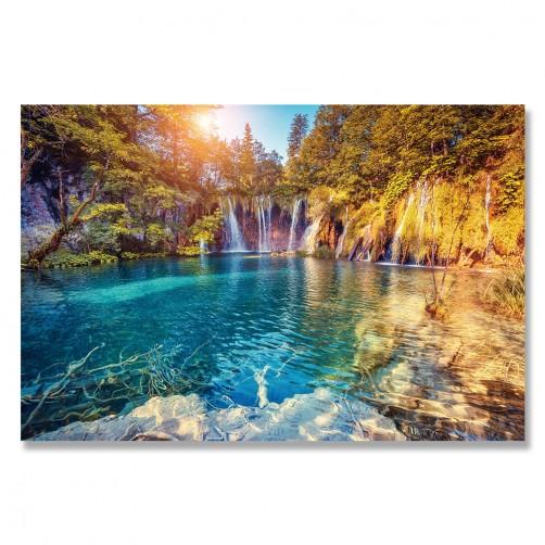 24mama掛畫 單聯式 歐洲 山 湖 瀑布 美麗風景 森林 光芒 無框畫 60x40cm-克羅地亞公園