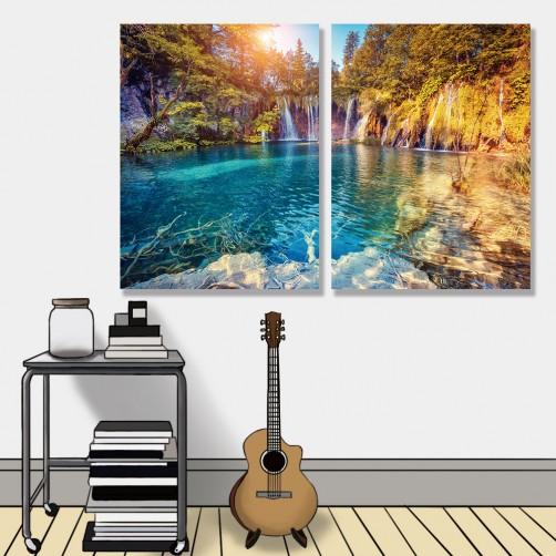 24mama掛畫 二聯式 歐洲 山 湖 瀑布 美麗風景 森林 光芒 無框畫 30x40cm-克羅地亞公園