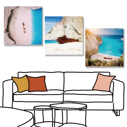 24mama 三聯式 希臘 復古 海灘 船 沉船灣 綠松石水 卵石白色 風景 無框畫 30x30cm-Navagio