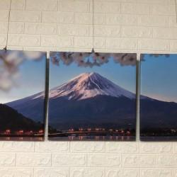 24mama掛畫 三聯式 客製化無框畫 尺寸圖像都可客製 無框畫 50x50cm-富士山倒影