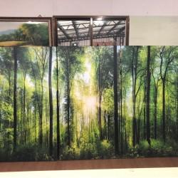 24mama掛畫 三聯式 客製化無框畫 尺寸圖像都可客製 無框畫 80x145m-森林之歌