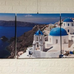 24mama掛畫 三聯式 客製化無框畫 尺寸圖像都可客製 無框畫 60x60cm-Santorini